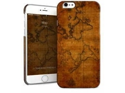 Capa iPhone 6, 6s, 7, 8 I-PAINT Hard Map Castanho — Compatibilidade: iPhone 6, 6s, 7 ,8