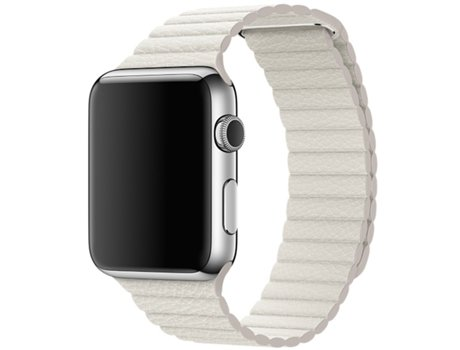 Bracelete APPLE Watch 42mm White Leather Loop - Medium — Dimensões: 42mm | Smartwatch não incluído