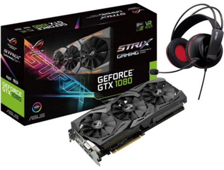 Placa Gráfica ASUS GEFORCE STRIX GTX1080-A 8GB GAMING e Headset Cerberus Asus — GeForce GTX 1080 / 1670 Mhz / 8GB GDDR5 / Auscultadores