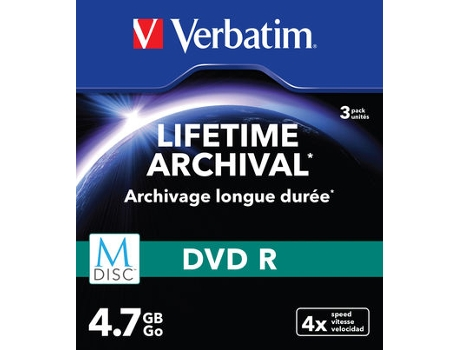 DVDR VERBATIM 4X 4.7GB Pack 3 Slim — 4.7 GB / 4x / 3 unid.