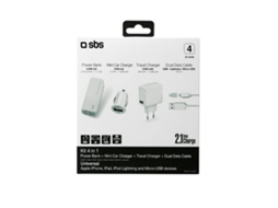 Powerbank SBS Kit Auto Branco — 2600 mAh | 1 USB | MicroUSB