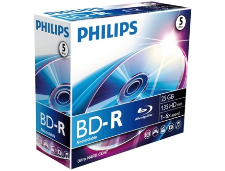 Blu-Ray PHILIPS Recordable 25 GB 6x Jewel Case (5 unidades) — Blu-Ray | 5 Unidades