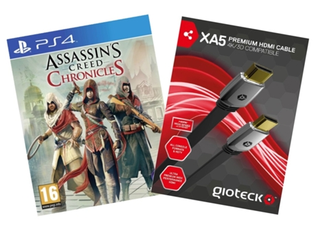 Pack Jogo PS4 Assassin's Creed Chronicles + Cabo X45 HDMI 4K/3D — Ação/Aventura | Idade mínima recomendada: 16
