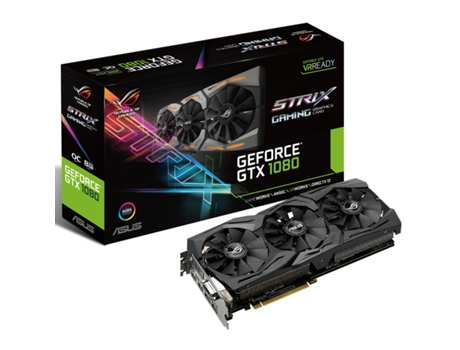 Placa Gráfica ASUS GeForce GTX 1080 ROG STRIX 8GB DDR5 — GeForce GTX 1080 / 1607 MHz / 8GB GDDR5X