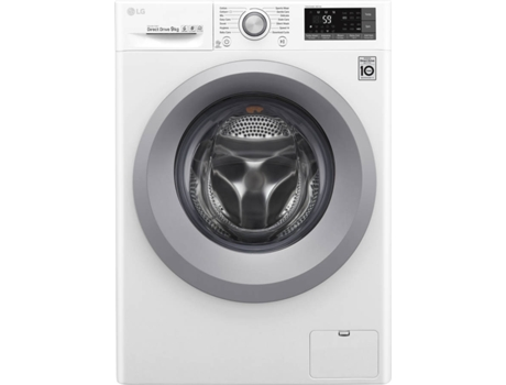 Máquina de Lavar Roupa LG F4TURBO9 (9 kg - 1400 rpm -Branco) — A+++ -30%, 9kg, 1400rpm, 6 Motion Direct Drive, SmartThinQ, TurboWash