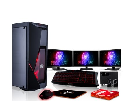 Pack Gaming FIERCE Python - 883890 (Desktop Gaming + 3 Monitores 21.5'' + Altifalantes 2.1) — Sem Sistema Operativo | Wi-Fi