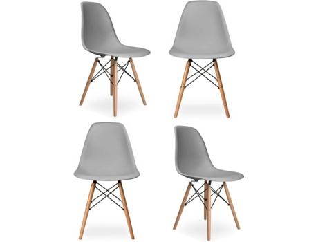 Conjunto 4 Cadeiras CSD Charles (Cinzento - PP e Madeira - 47 x 81 x 54 cm)