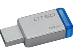 Pen USB KINGSTON DataTraveler 50 64GB USB 3.1 Metal/Azul — 64GB/USB 3.0