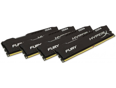 Memória RAM Kingston DDR4 16GB 2666MHz CL15 (Kit of 4) HyperX FURY Black Series — 16 GB | 2666Mhz | DDR4