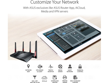 Router AiMesh ASUS RT-AC88U Gaming (AC3100 - 1000 + 2167 Mbps) — Dual Band