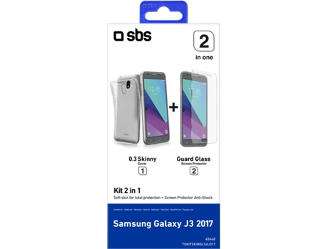Kit SBS 2 in 1 Samsung Galaxy J3 2017 Transparente — Compatibilidade: Samsung Galaxy J3 2017