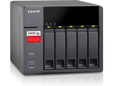Caixa NAS QNAP TS-563-2GB — AMD GX-420MC quad-core 2.0 GHz | Nº Compartimentos: 5