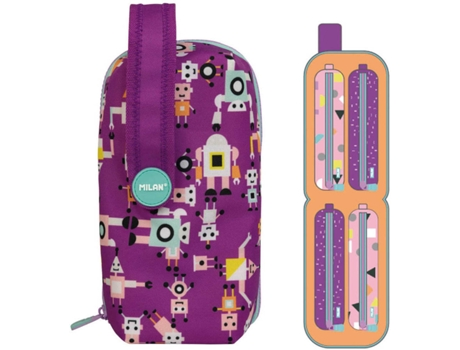 Estojo MILAN Happy Bots Purple Handly (22.5x11.5x11cm)