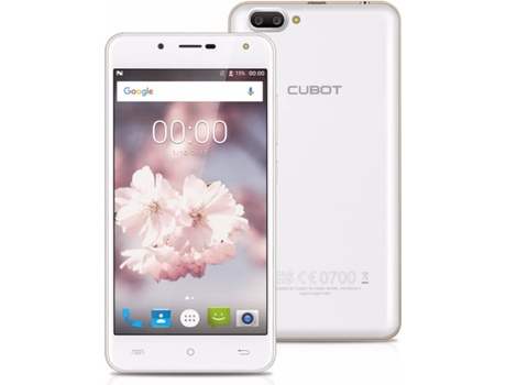 Smartphone CUBOT Rainbow 2 16GB Branco — Android 7.0 / 5.0'' / Quad-core 1.3 GHz / 1GB RAM / Dual SIM