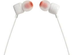 Auriculares Com fio JBL T 110 (In Ear - Microfone - Branco) — In Ear | Microfone | Atende chamadas