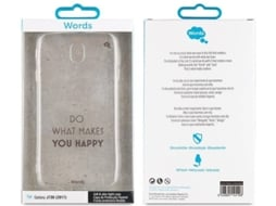 Capa WORDS Happy Samsung Galaxy J7 2017 Transparente — Compatibilidade: Samsung Galaxy J7 2017