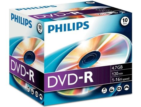 DVD-R PHILIPS 4,7GB 16X Jewel Case (10 unidades) — DVD-R / 10 Unidades