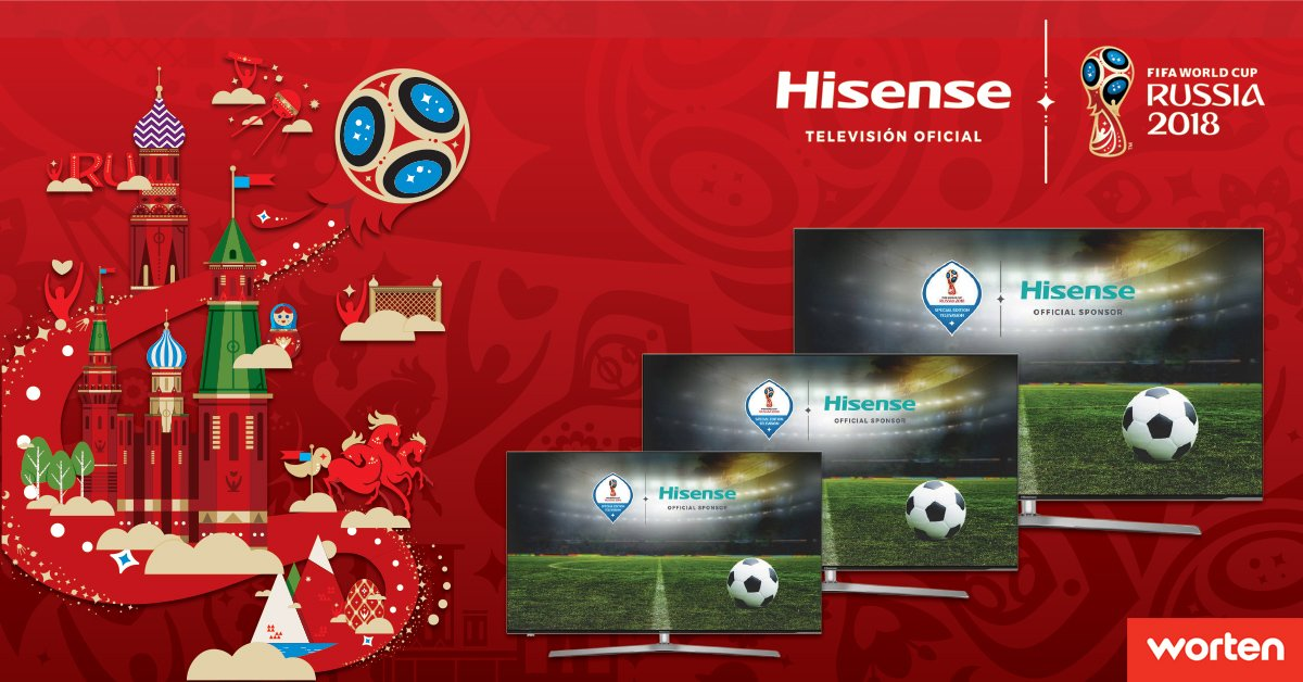 Hisense – patrocinador oficial do 2018 FIFA World Cup Russia<sup>TM</sup> – e Worten
