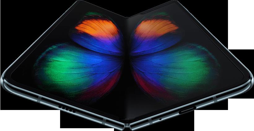 O Galaxy Fold, aberto e assente com um ângulo ligeiro, visto a partir da parte inferior, com a imagem de uma borboleta verde, cor-de-laranja e azul no ecrã. Começa com um grande plano do Ecrã Infinity Flex e afasta-se para mostrar todo o telemóvel